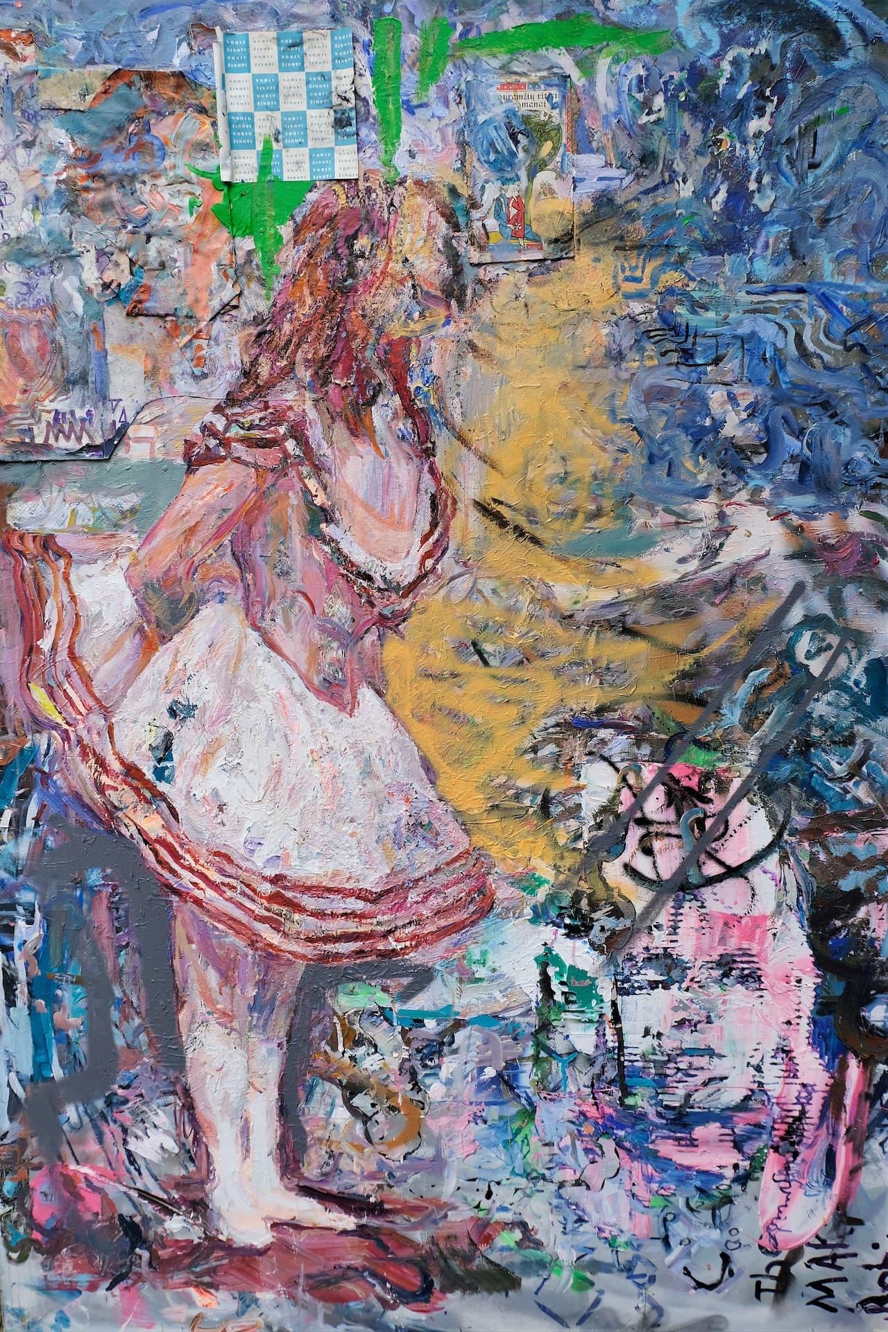 Ballerina acrylic on plastic canvas