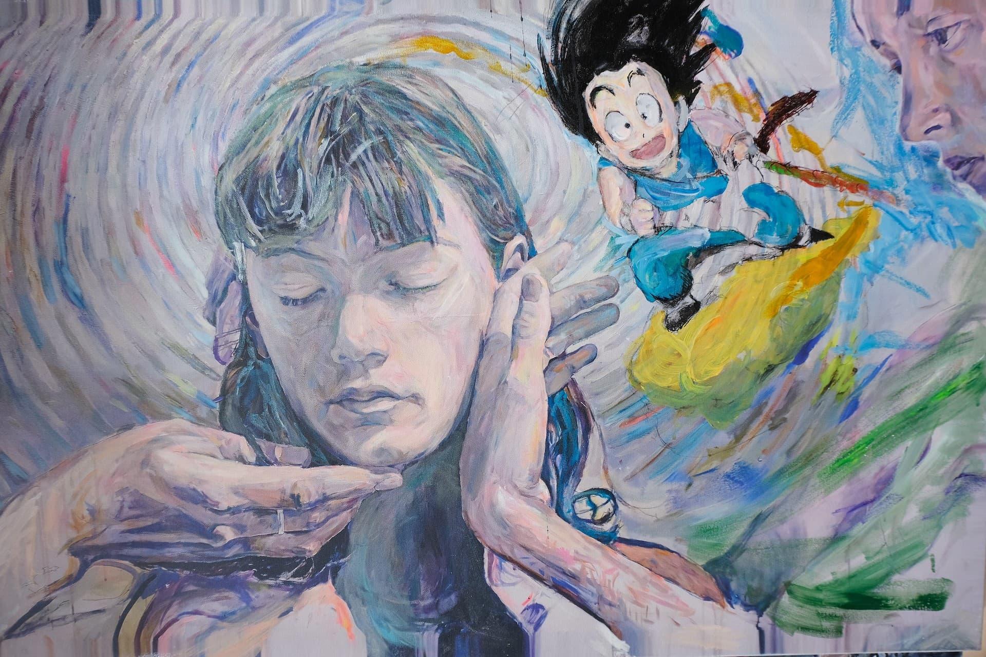 Fanny with Goku mixed media on canvas